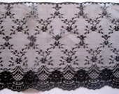 """Victorian Extra Wide Raschel Lace, Black, 7 1/8"""" inch wide, 1 Yard For Apparel, Home Decor, Accessories, Mixed Media, Gifts"""