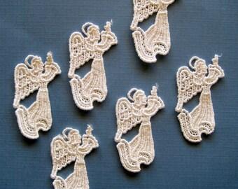 Venice Lace Angel Appliques, Ivory, x 6, Embellishment For Scrapbook, Mixed Media, Accessories, Decor, Romantic & Victorian Crafts