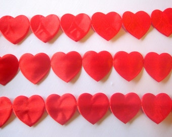 "Satin Heart Cut Out Ribbon Chain, Red, 1.5"" inch, 1 Yard, For Srapbook, Stationery, Accesories, Home Decor, Romantic Crafts"