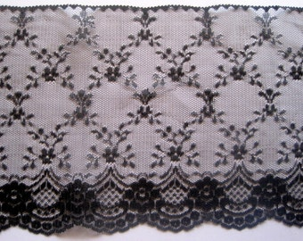 "Victorian Extra Wide Raschel Lace, Black, 7 1/8"" inch wide, 1 Yard For Apparel, Home Decor, Accessories, Mixed Media, Gifts"