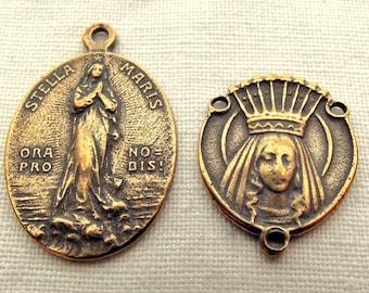 Bronze Stella Maris Medal & Queen of Heaven Chaplet Medal Set
