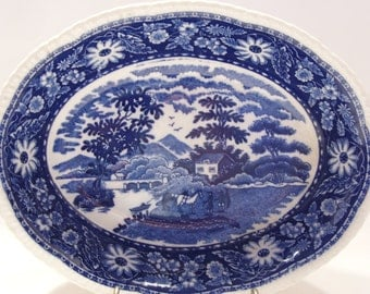 Flow Blue Oval Bowl Made in Occupied Japan