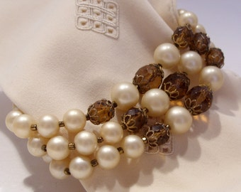 Three Strand Pearl and Brown Bead Bracelet with Fabulous Clasp