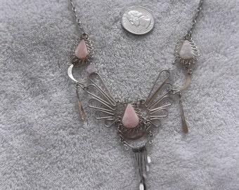 Handcrafted Pendant/Necklace--ALPACA Silver- Quartz  -N557
