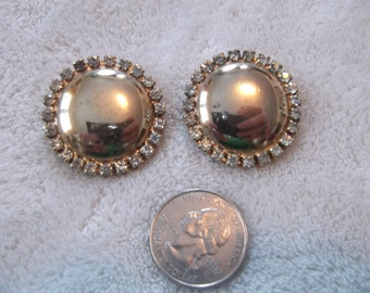 Vtg Clip On Earrings-Goldtoned & Rhinestone Buttons-C2018