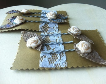 Set of 6 Bobby Pins Ivory with White Ribbon Flowers and Burlap Leaves