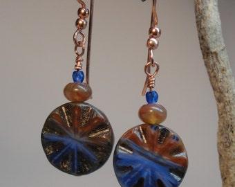 Vivid blue and orange Czechoslovakian dangle earrings