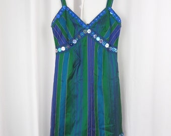 90s Anna Sui striped shantung silk + sequined strappy sundress/ blue jewel tones: size US 2 Xsmall