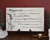 Inspirational Wood Sign, Large, Happiness, Handmade painted wooden sign, inspirational quote, wall decor, home decor