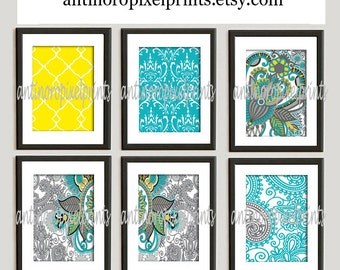 Turquoise Greys Yellow Paisley Art Prints Collection  -Set of (6) Prints - Size 8 x 10  - Featured in Navy White  (UNFRAMED)
