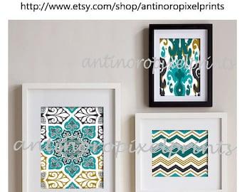 Ikat Collage Teal Charcoal Art Wall Gallery Digital Print  -Set of (3) -  Prints - (1) 11x14, (1) 8x10, (1) 5x7, (UNFRAMED)