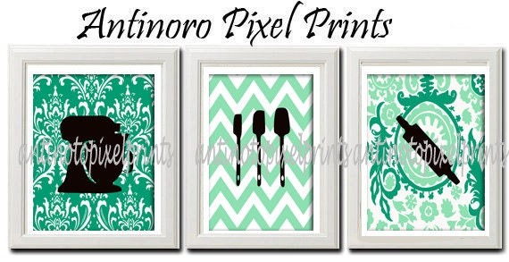 Coastal Greens Kitchen White Utensils Print Vintage / Modern inspired Art  -Set of 3 - 8 x 10 Prints - Greens White Color (UNFRAMED)