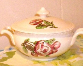 Rare Johnson Brothers China Sugar Bowl with lid, JB England Old Flower Prints Pattern, pink floral sugar bowl
