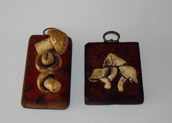 Reserved Vintage Mushroom Wall Plaques Kitchen Decor Wood