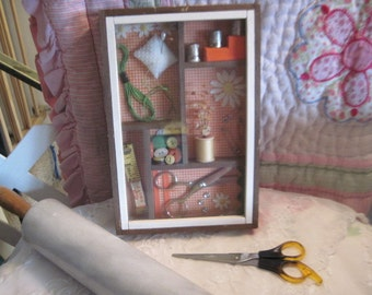 Sewing  Shadow Box Diorama,  Sewing , Vintage Home Decor,  :)s