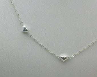 Tiny Sterling Hearts Floating Necklace set, Valentine's Day