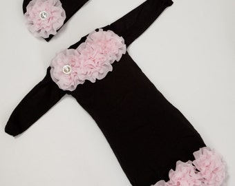 Infant Baby Girl Layette Black Cotton Baby Gown with Pink Chiffon Flowers and Rhinestones