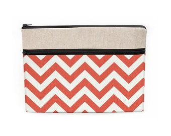 "13 inch laptop sleeve, Macbook Pro 13"" case, 13 Macbook Air bag, Macbook Pro Retina case, zipper front pocket coral red chevron"