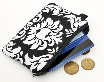 Black coin purse, small zip coin pouch, padded zippered wallet, women's accessories - black dandy damask