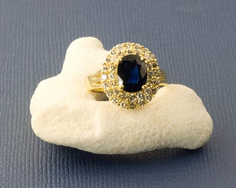 Vintage 18 Karat Gold Sapphire And Diamond Cocktail Ring