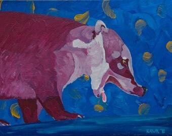 Coatamundi - Original Acrylic Painting Pink Purple Blue Gold Background