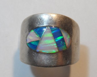 Fire Opal White and Black Inlay Southwestern Sterling Silver Signed Wide Cigar Band Ring Size 6.5