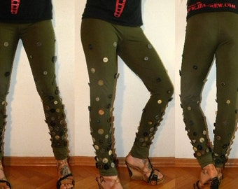 Lycra leggings with buttons,4 way stresch spandex,military green long leggings