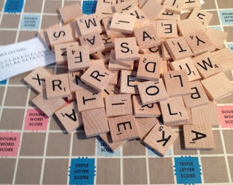 200 Scrabble Tiles Wooden, Scrabble Game Wood Pieces for Altered ARts, Crafts, MIxed Media, etc.