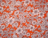 Vintage floral fabric remnant - white flowers on orange
