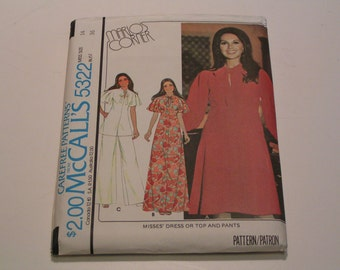 Vintage McCalls Pattern 5322 Marlos Corner Miss Dress or Top and Pants