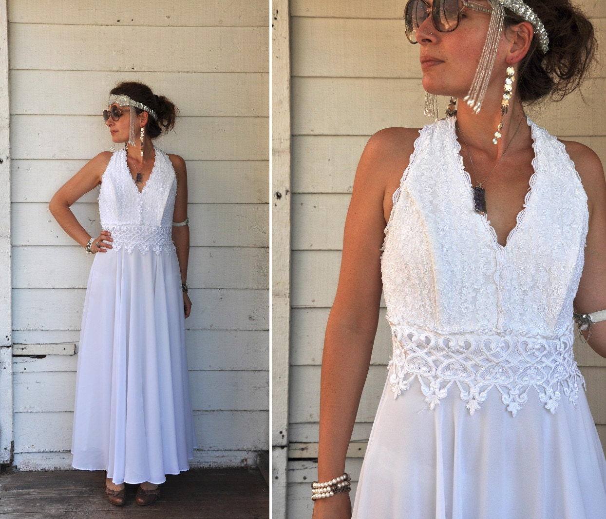 Vintage white wedding dress empire waist dress beaded for Wedding dress large bust small waist