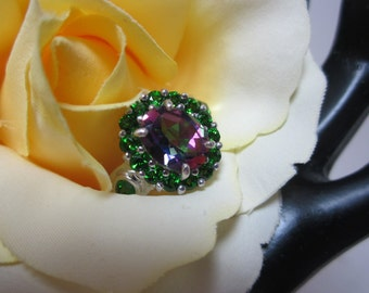 Mystic Fire Green Mystic Topaz and Chrome Diopside Ring