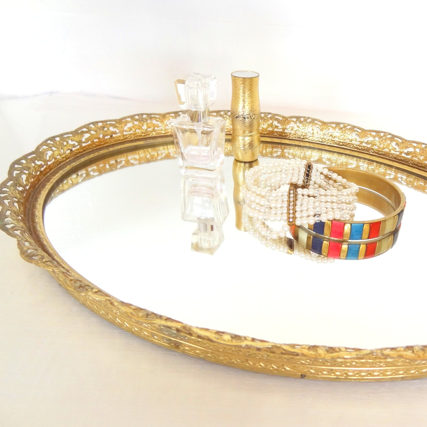 Vintage gold mirrored vanity tray for Mirrored bathroom tray