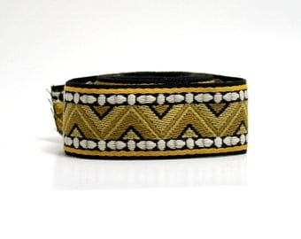 Ziggurat Jacquard Trim - Chevron - Gold, Chartreuse, Green and White on Black Background - One Yard - Vintage