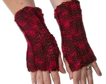 Fingerless Gloves - Arm Gloves - Crocheted Brick Reds - Cotton/Acrylic Blend