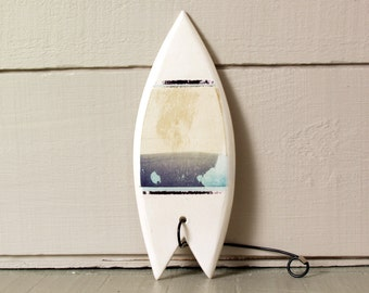 Clay Boogie Board.  Polaroid Transfer Abstracted Seascape Printed on Hand-Built Ceramic Surf Board.