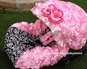 Baby Car Seat Cover Canopy, Infant Car Seat Cover Canopy, 3D Rosette Damask Pink, fit most Infant car seat, 45%off