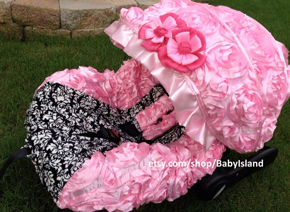 baby car seat cover canopy infant car seat cover canopy 3d rosette damask pink fit most. Black Bedroom Furniture Sets. Home Design Ideas