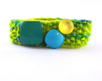 Yellow cuff, neon yellow, neon, cuff, button bracelet, knit accessories, blue and green
