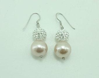 Crystal ball,swaroski pearl earring hoop