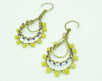 Yellow,jade,brass wire earring hoop.