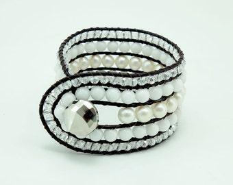 White freshwater pearl,crystal wrap bracelet.