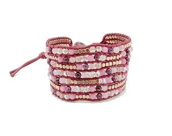 Pink gold plated beads,rose quartz,jasper wrapped on pink cotton cord bracelet.