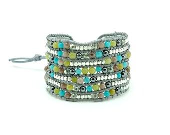 Silver plated beads,jade,hematite,jasper wrap cotton cord bracelet.