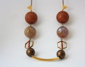 Geometric, earthy colored medium Necklace