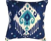 """Ikat Pillow. Blue Pillow Cover. Blue Ikat Pillow  - Modern Pillow Cover.16"""" x 6"""" or  17""""x17"""" or 18"""" X 18"""""""