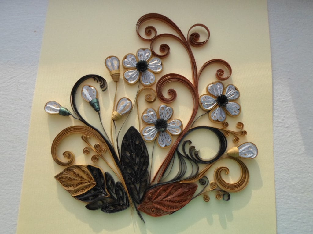 Victorian Style Wall Art Paper Flowers Made From Metallic