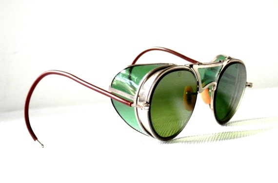 Antique Steampunk Goggles Green Lens By Bausch And Lomb