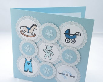 Hand crafted blue baby card