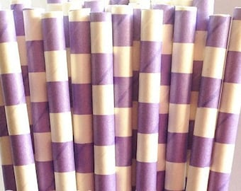 Lavender Sailor Striped Paper Straws
